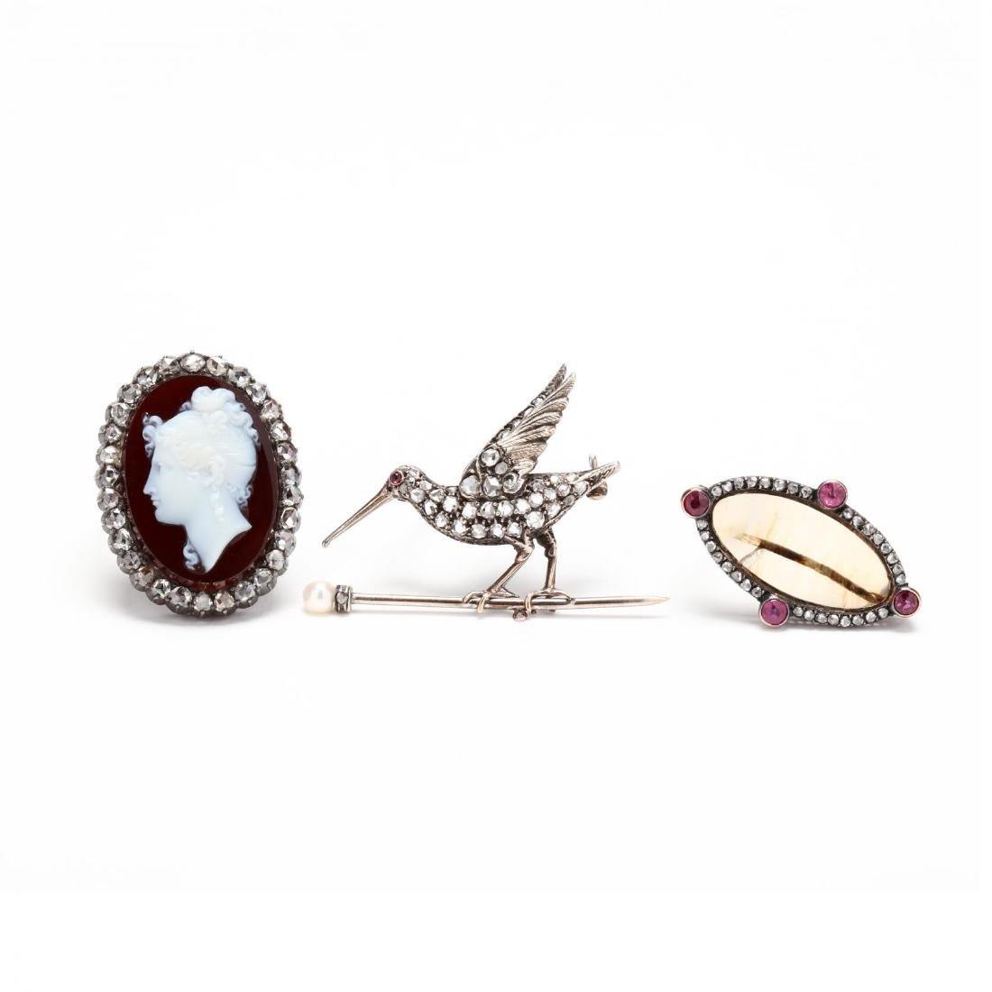 Three Antique Diamond and Gemstone Brooches