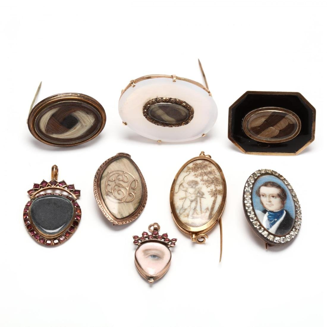 Collection of Eight Antique Mourning Jewelry Items