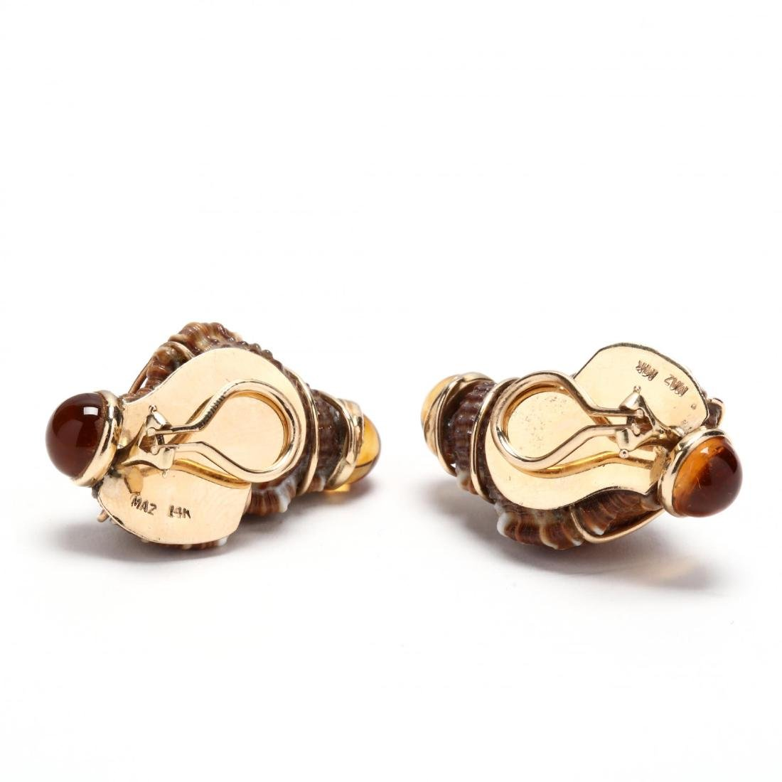 14KT Gold, Shell, and Citrine Ear Clips, MAZ - 2