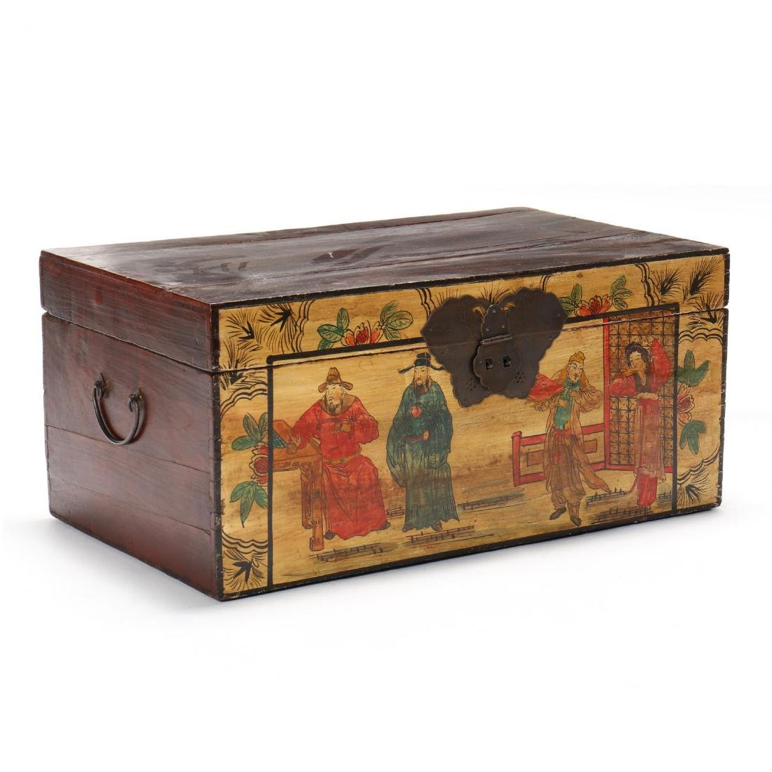 Chinese Paint Decorated Trunk
