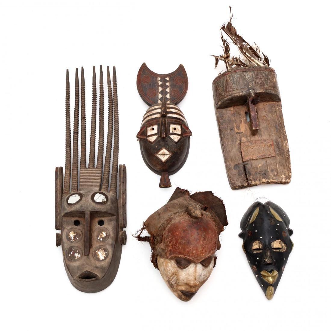 Five African Tribal Masks