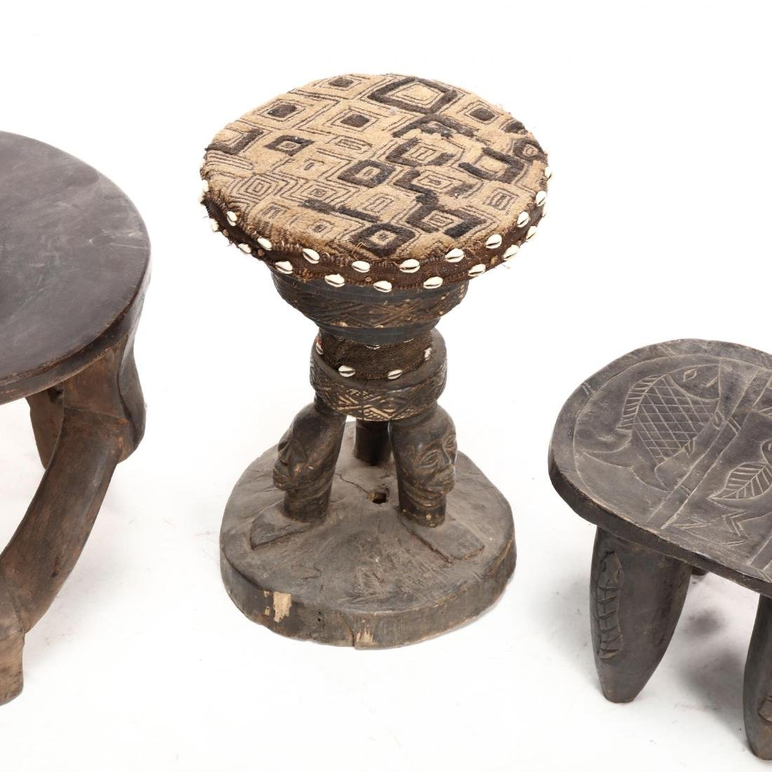 Four African Carved Wood Stools - 3
