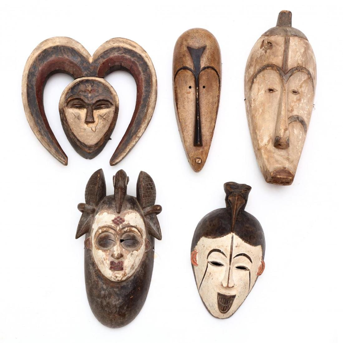 Five African Tribal Carved Wood Face Masks