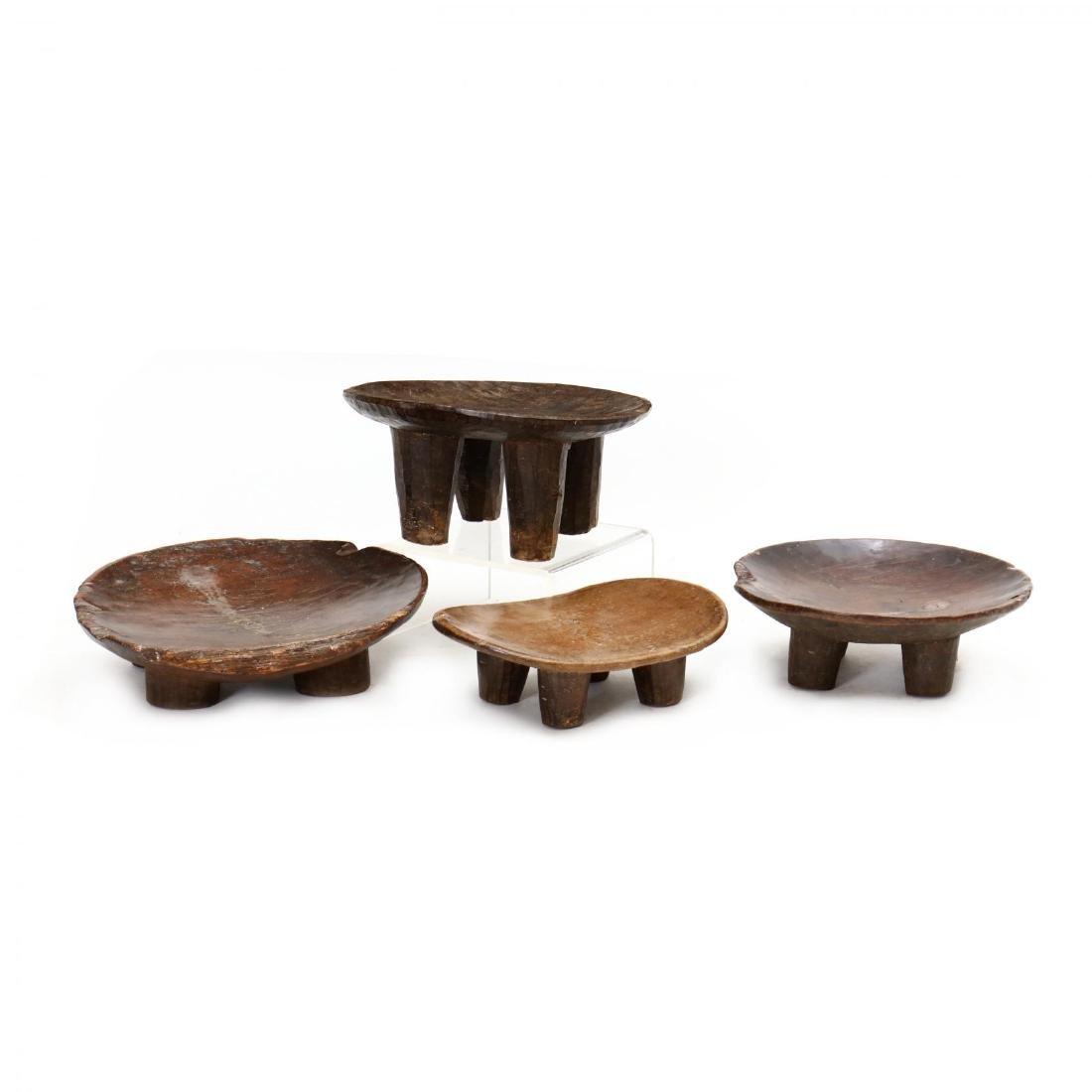 Four African Carved Wood Stools