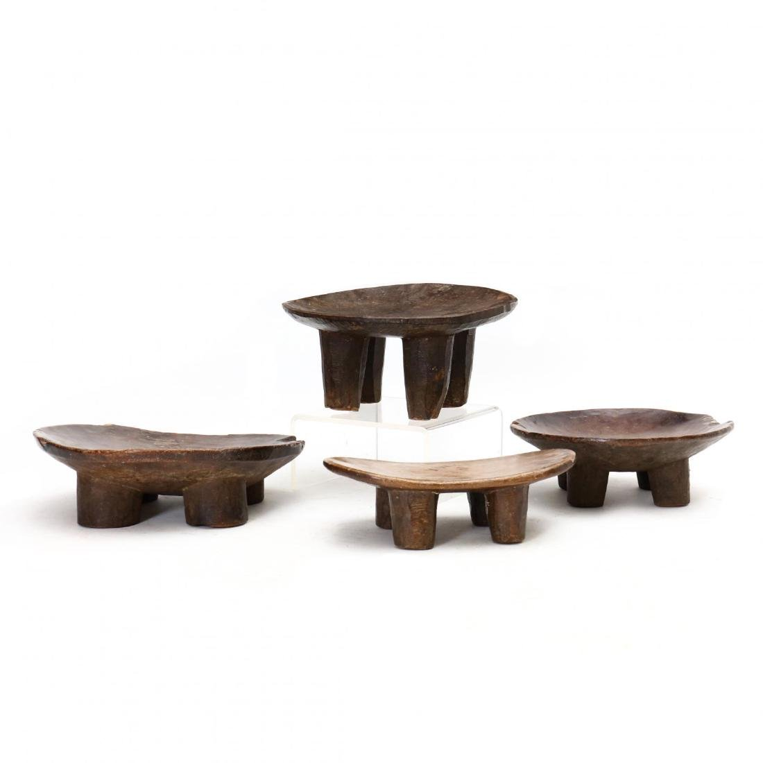 Four African Carved Wood Stools - 2