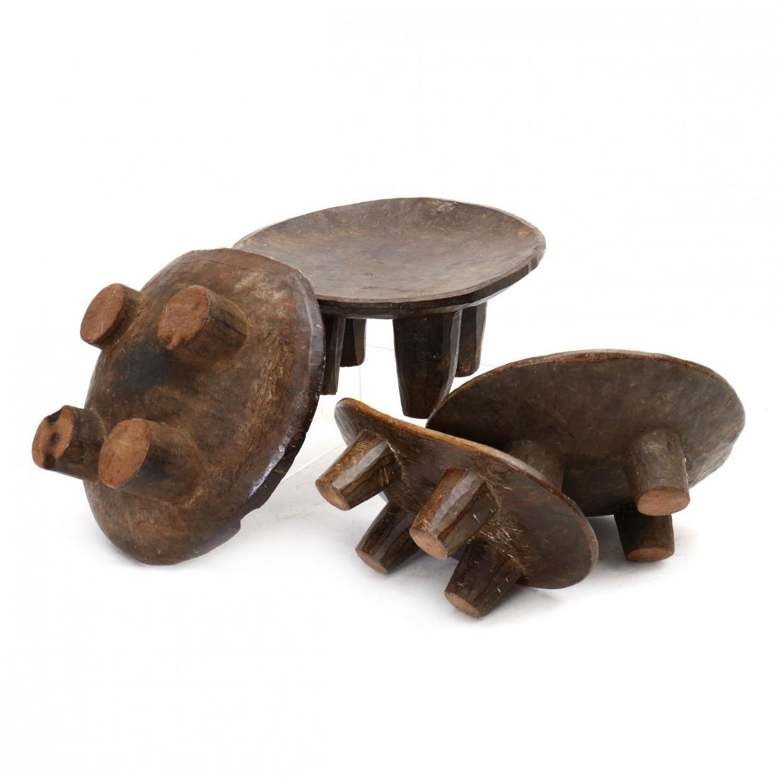 Four African Carved Wood Stools - 4