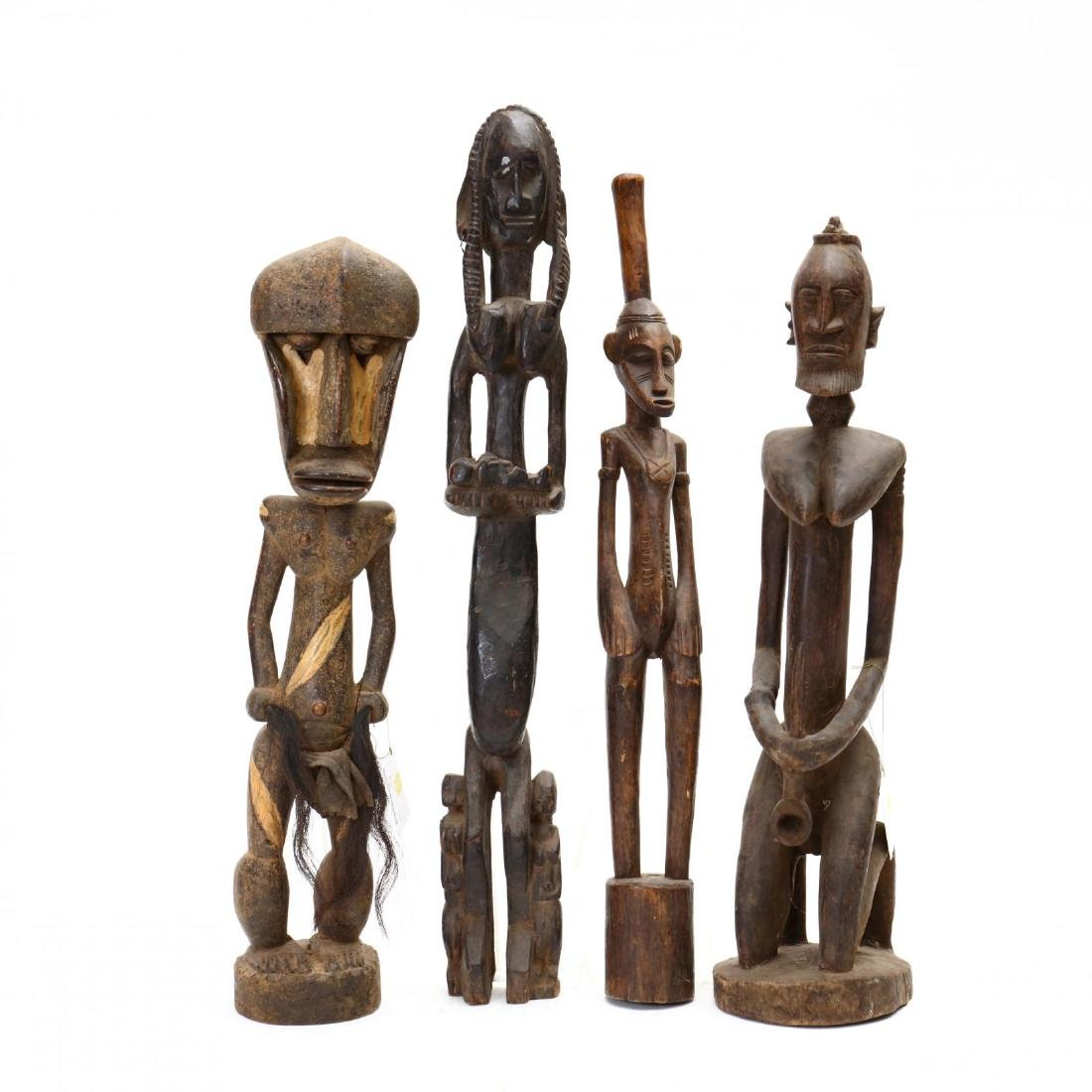 Four African Female Carved Tribal Statues