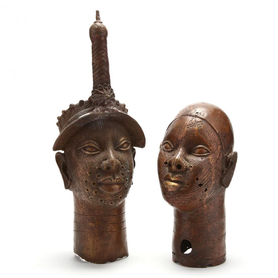 Two African Benin Bronze Oba Heads