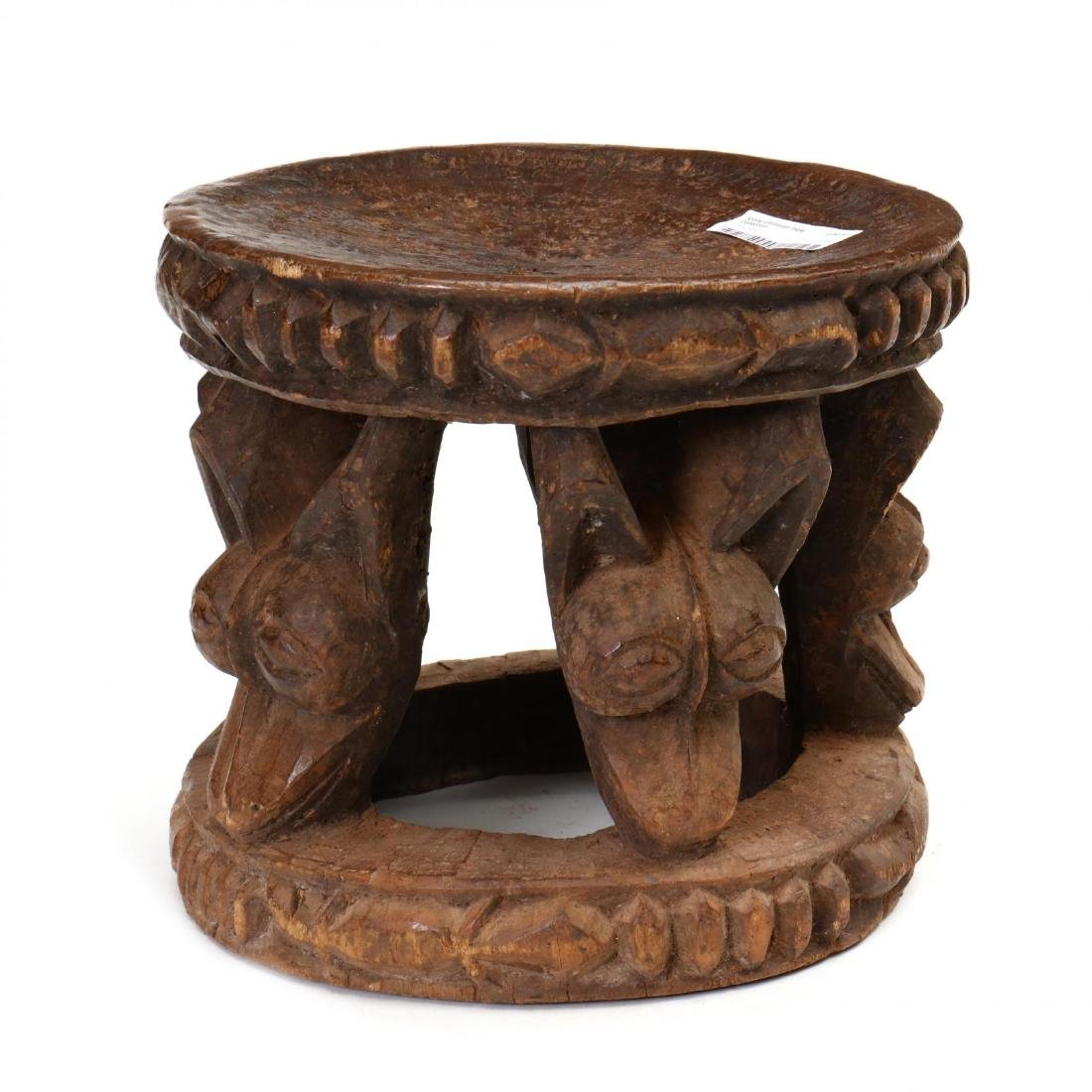 African Carved Wood Iconic Utilitarian Table with - 2