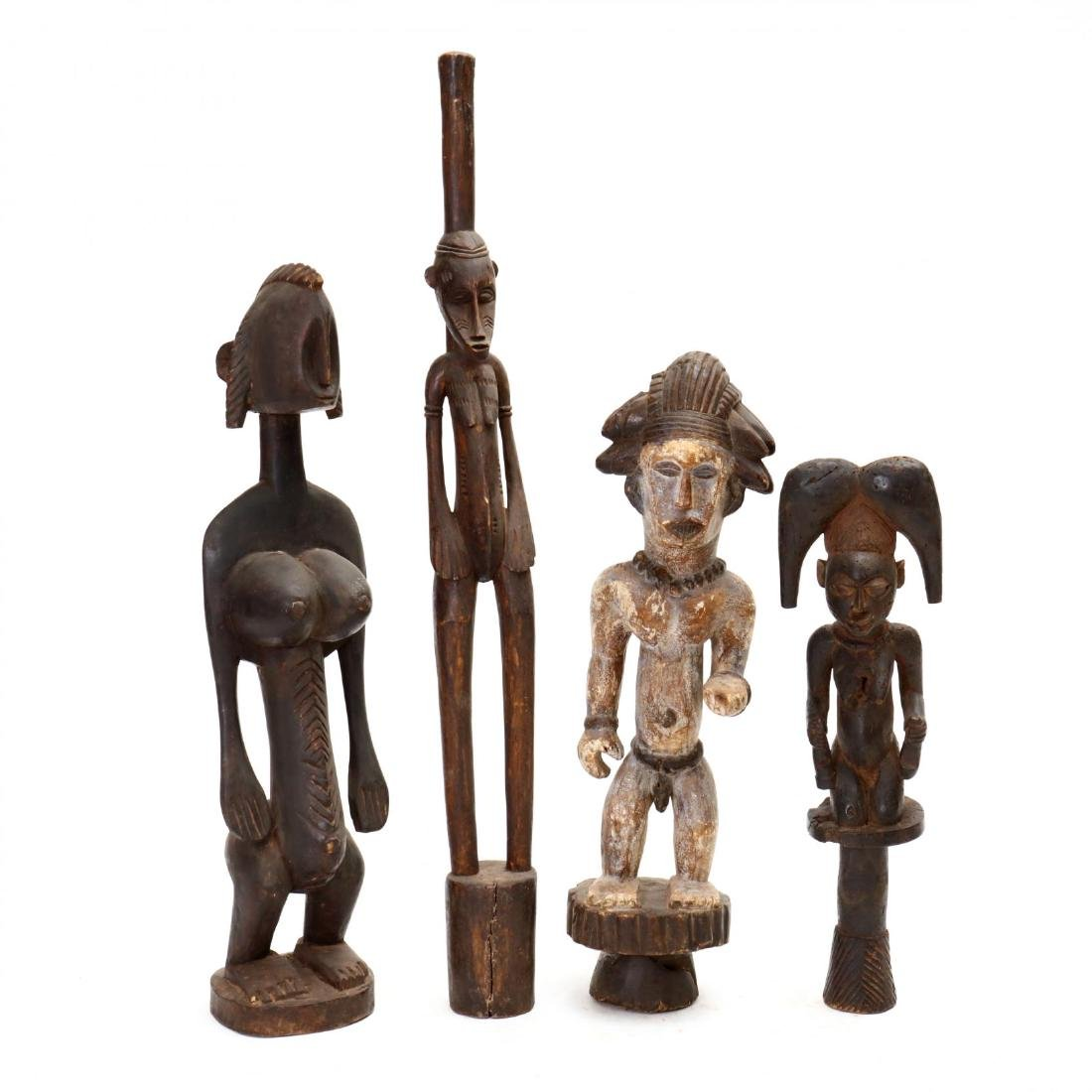 Four African Carved Tribal Statues