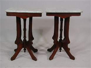 Pair of Walnut Marble-Topped Side Tables, American,