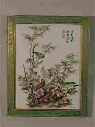 """""""Finches in Harmony"""" Boehm Porcelain Plaque,"""