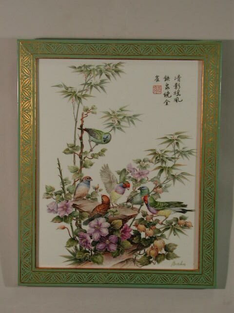 """24: """"Finches in Harmony"""" Boehm Porcelain Plaque,"""