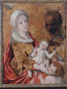 165: Oil on Panel, Holy Family, att. Frans Floris,