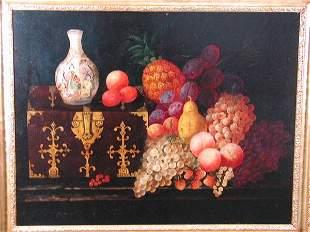 Oil on Canvas, Still Life w/Fruit, Thomas Whittle,