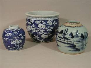 Three Pieces of Blue and White Chinese Export Porc