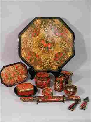 Twelve Piece Kashmir Lacquered Collection,