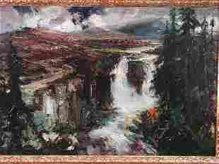 Oil on Board, Landscape w/Waterfall, 20th c.,