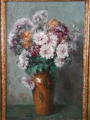 Oil on Canvas, Still Life w/Chrysanthemums in Vase