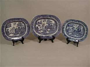Three Blue Willow Platters, c. 1830-1850,