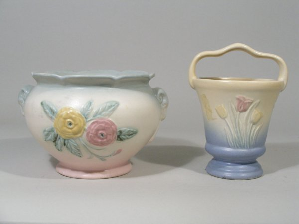 1001: Hull Pottery Tulip and Camellia, Two Pieces,