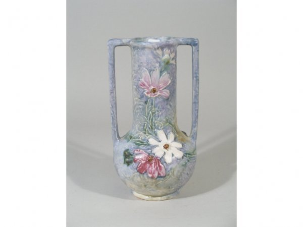 """1006: Weller """"Silvertone"""" Blue and Pink Daisy Vase,"""