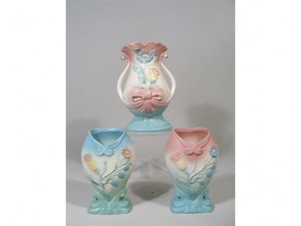 1007: Hull Pottery Bowknot Group of Three Vases,