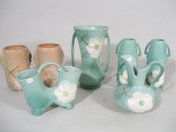 1009: Weller Pottery Group of Seven Wild Rose,