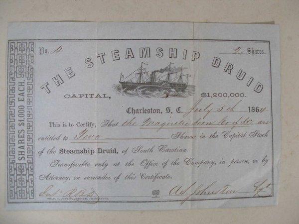 1469: Confederate Blockade Runner Stock Certificate,