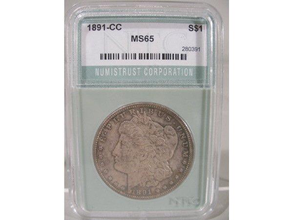 2022: 1891-CC Morgan Silver Dollar, NTC MS 65,