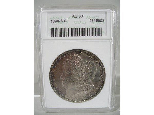 2023: 1894-S Morgan Silver Dollar, ANACS AU 53.
