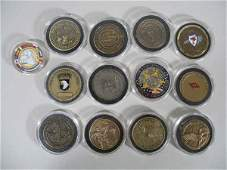 2091: 13 Brass Army and Challenge Coins,