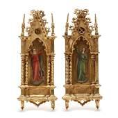Pair of Italian Gothic Revival Framed Porcelain Angel