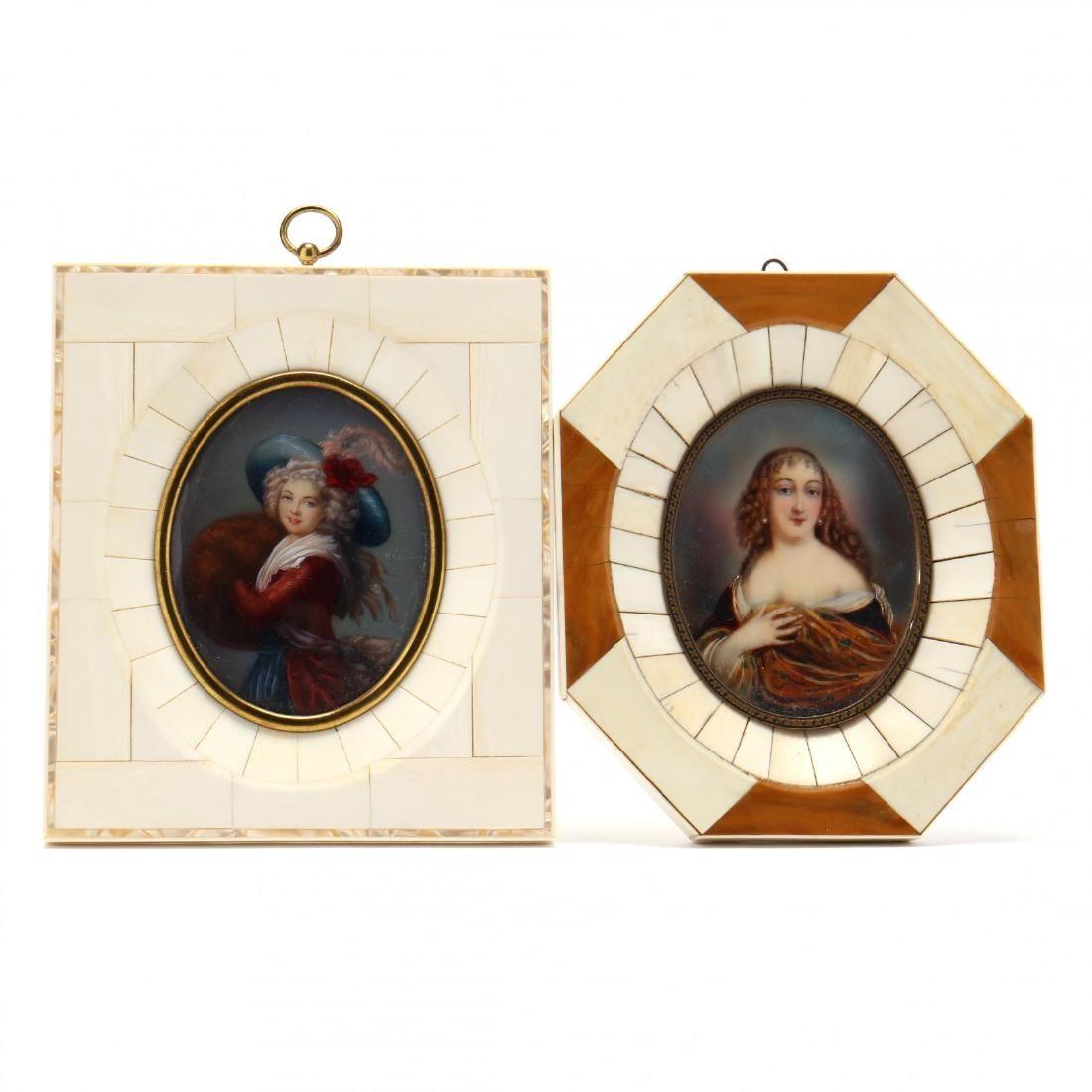 Two Vintage Portrait Miniatures