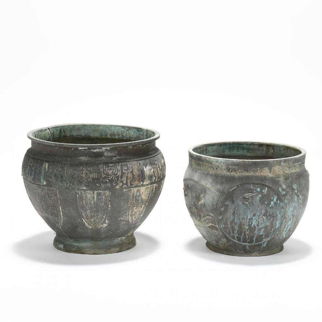 Two Large Asian Bronze Planters