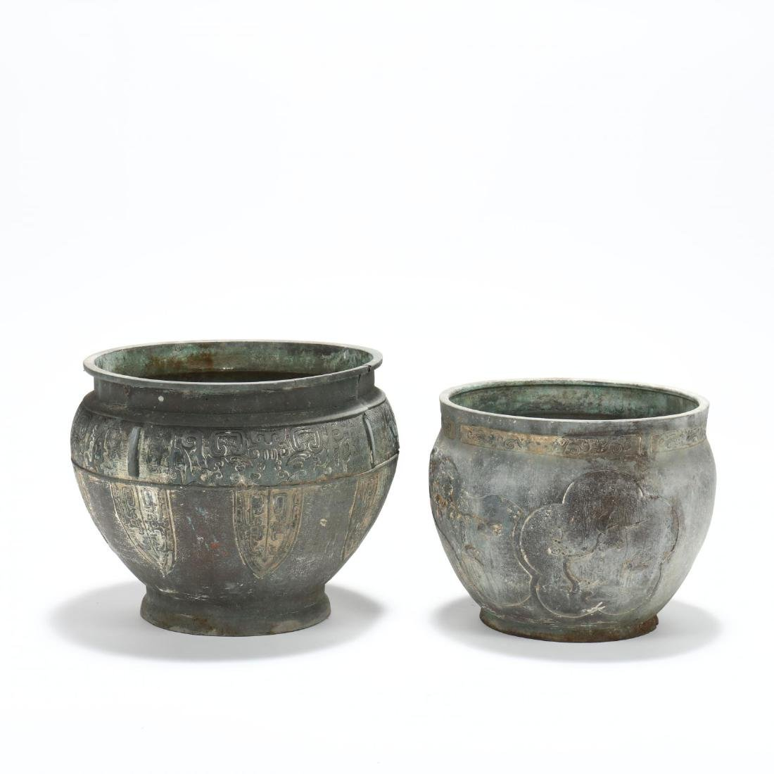 Two Large Asian Bronze Planters - 3