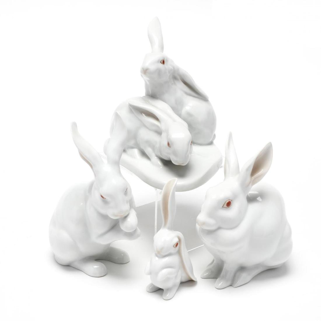 Four Herend Natural Porcelain Rabbits