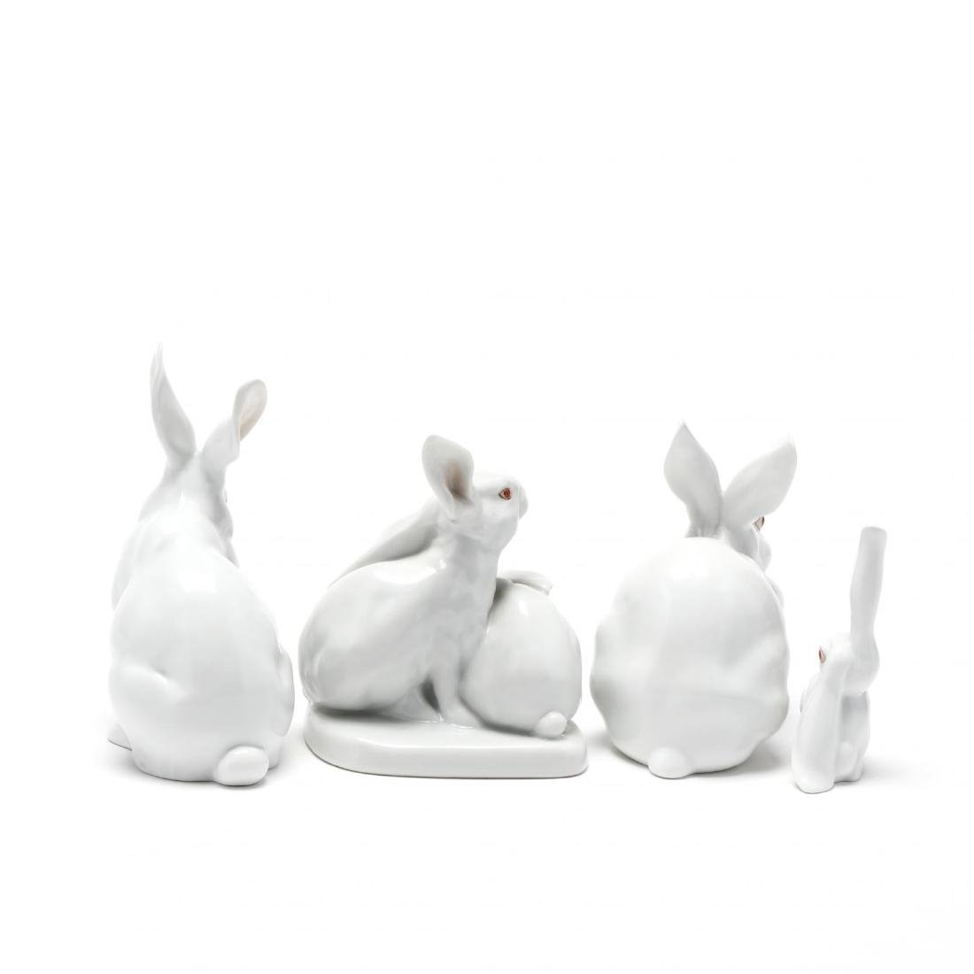Four Herend Natural Porcelain Rabbits - 3