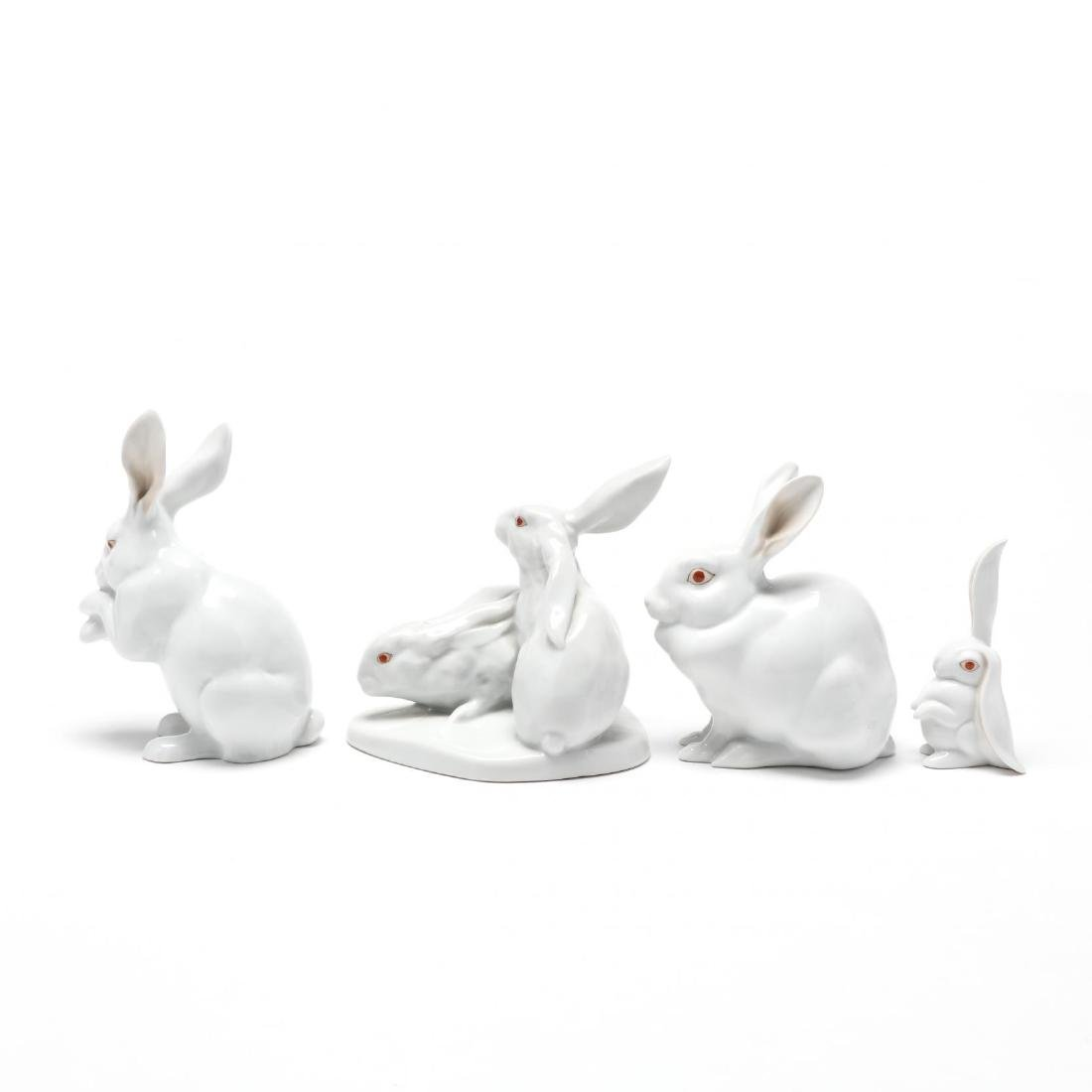 Four Herend Natural Porcelain Rabbits - 4