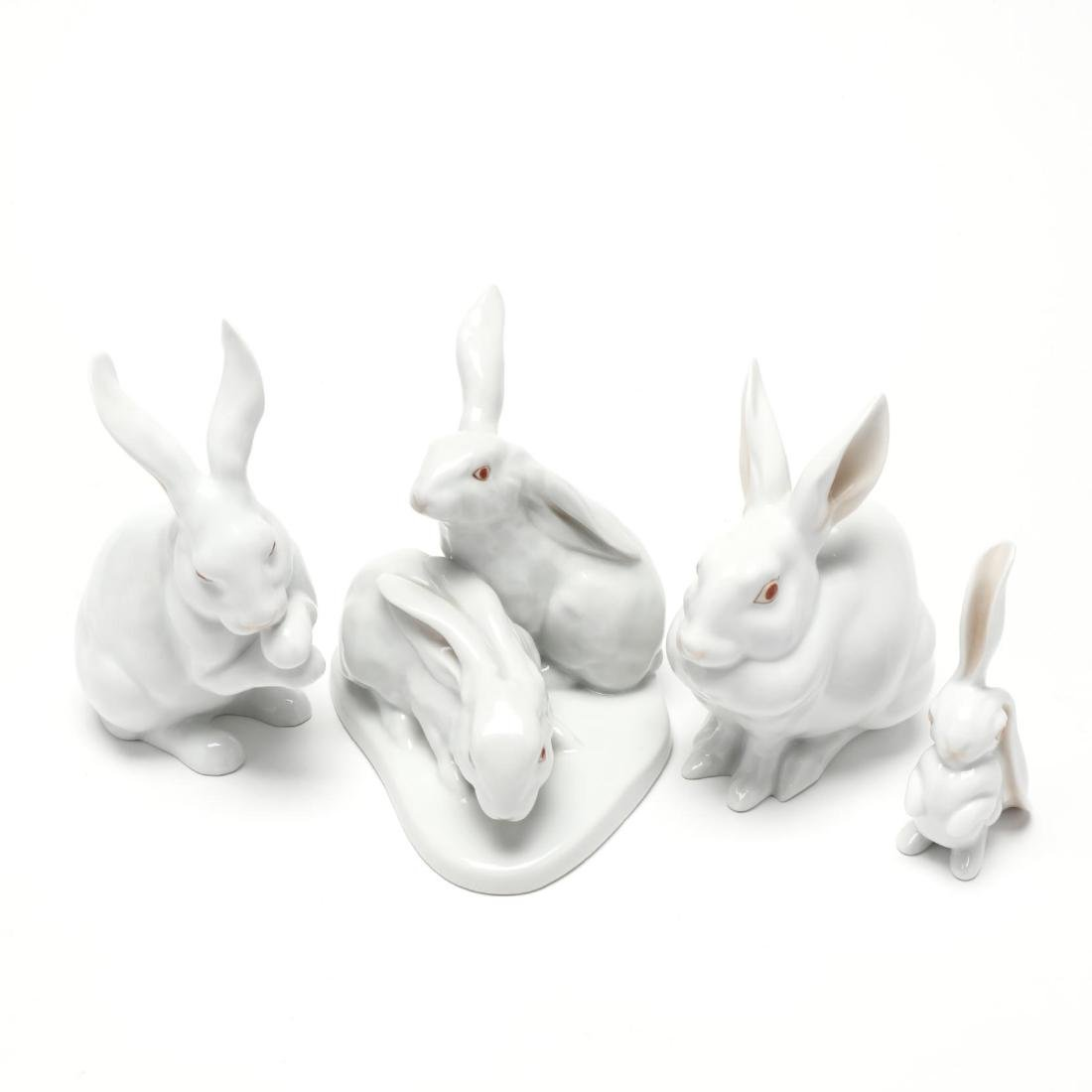 Four Herend Natural Porcelain Rabbits - 5