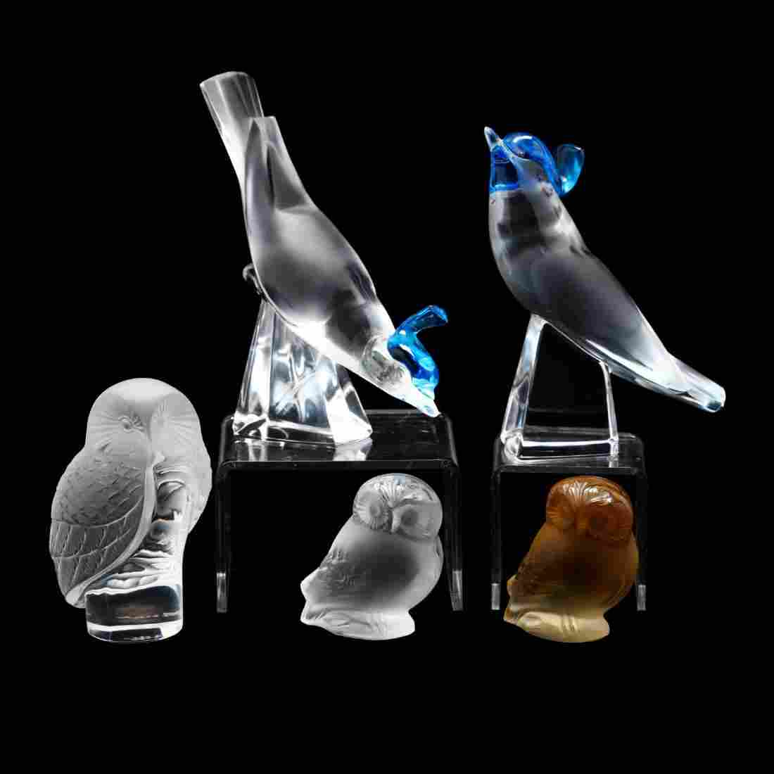Lalique, Five Crystal Birds