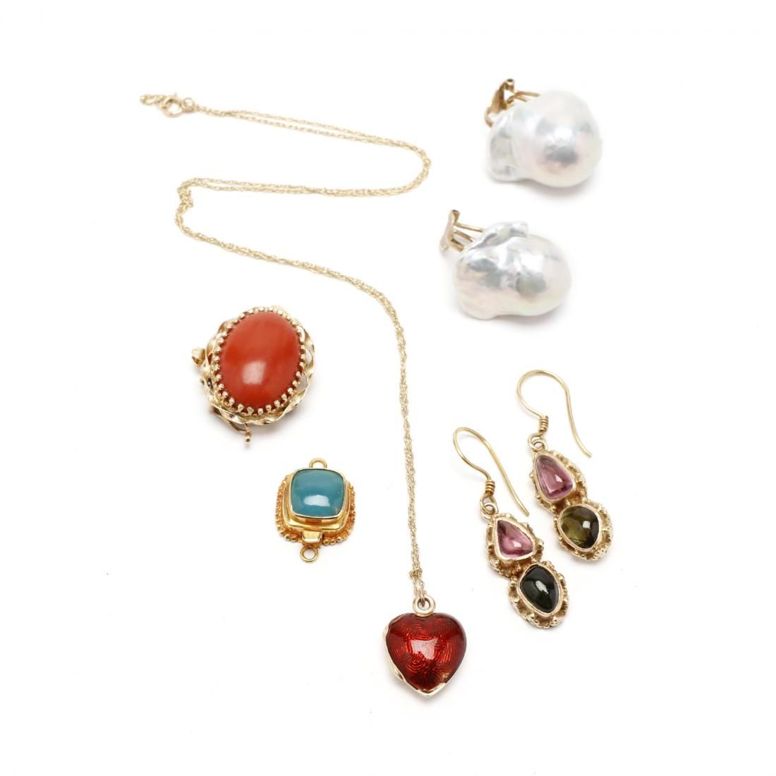 Group of Gold & Gemstone Jewelry Items