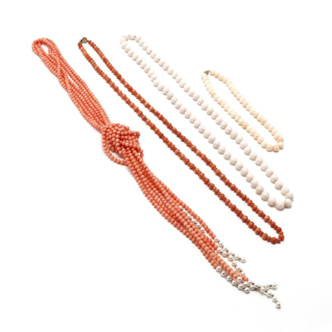 Four Coral Bead Necklaces