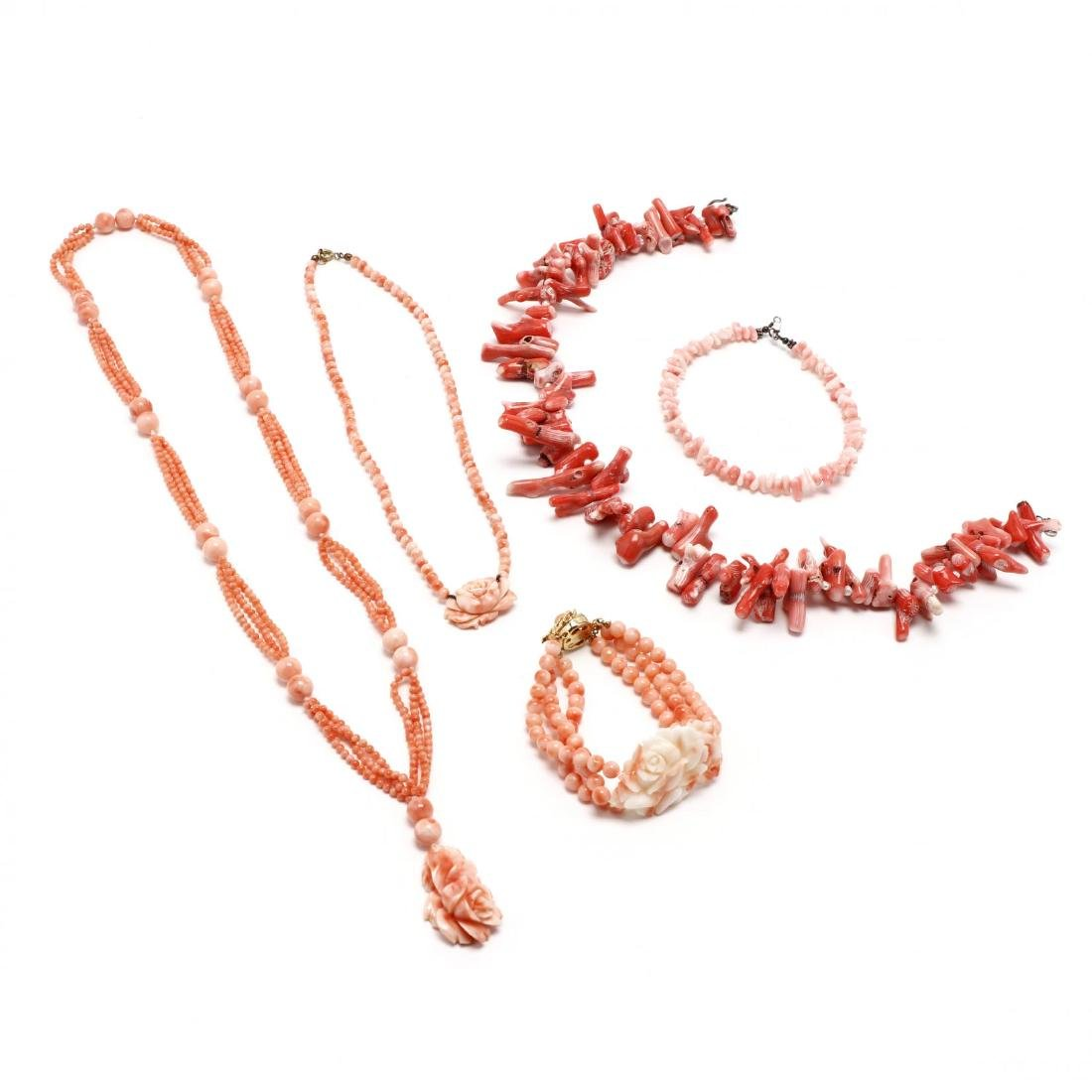 Five Coral Bead Jewelry Items
