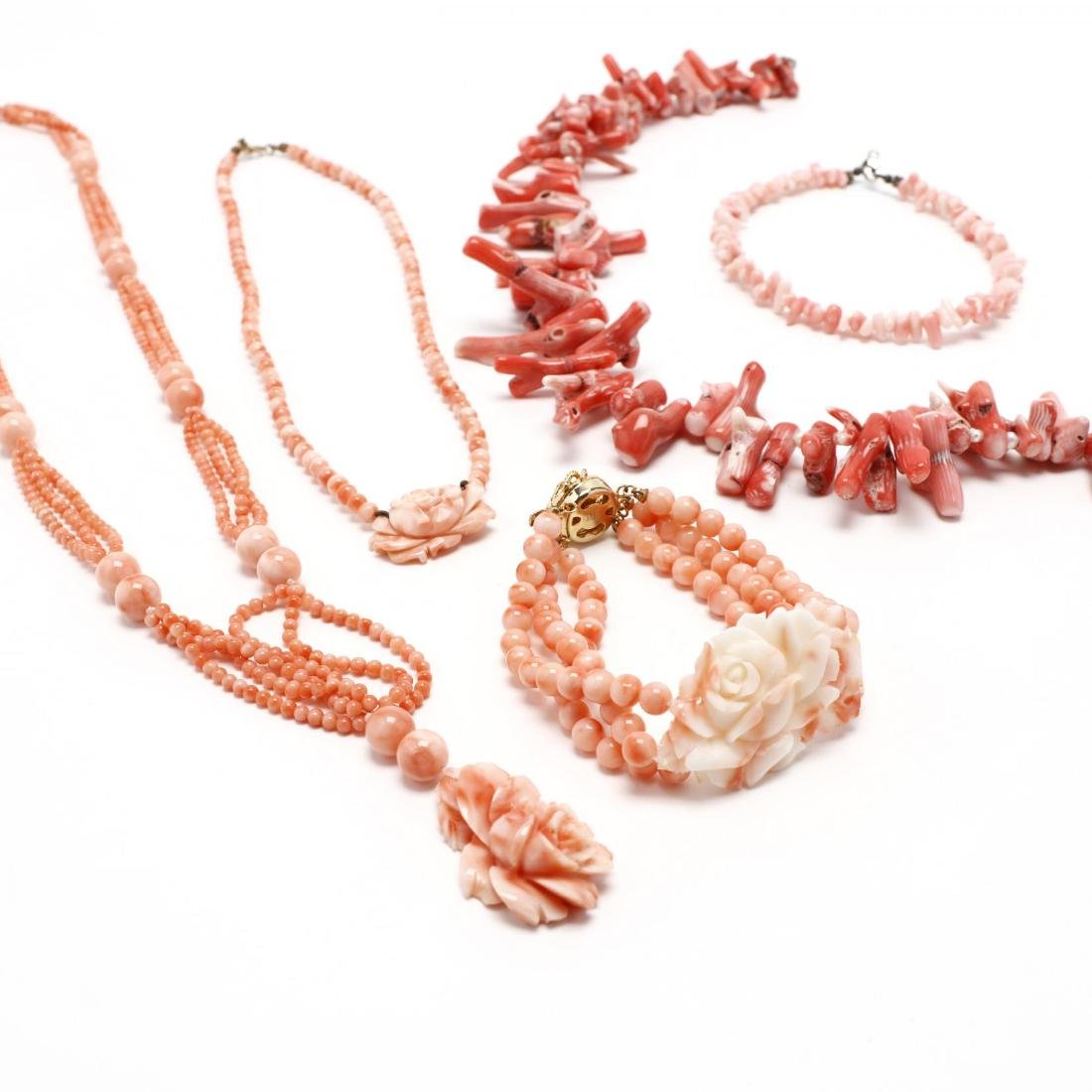 Five Coral Bead Jewelry Items - 2
