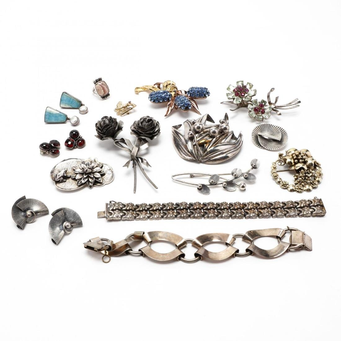A Large Group of Designer Silver Jewelry Items