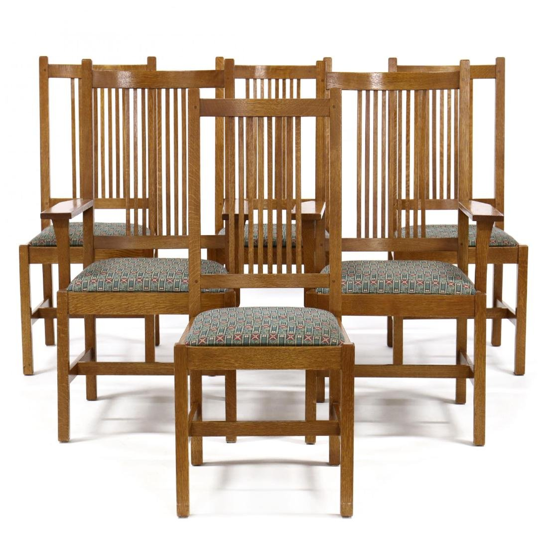 Stickley, Set of Six Mission Style Oak Dining Chairs