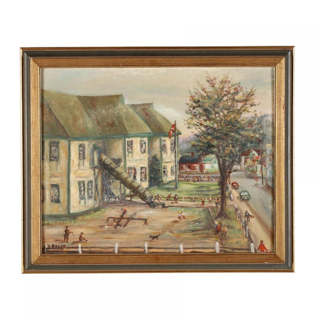 A Vintage Painting of a Schoolyard