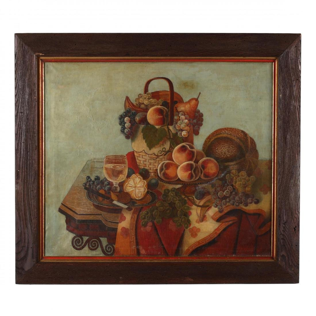 A Vintage Tabletop Still Life Painting with Fruit