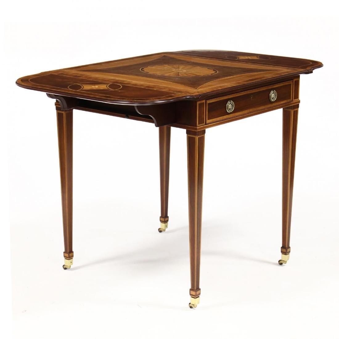 Baker, Hepplewhite Style Inlaid Dropleaf Side Table - 2